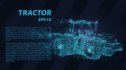 Tractor of blue glowing dots. Tractor vector illustration.