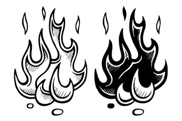 Flame of fire stylized sketch