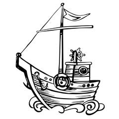 Vintage stylize sketch sailing boat wooden