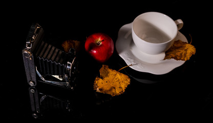 A vintage camera, a red apple, a white cup and a yellow leaf