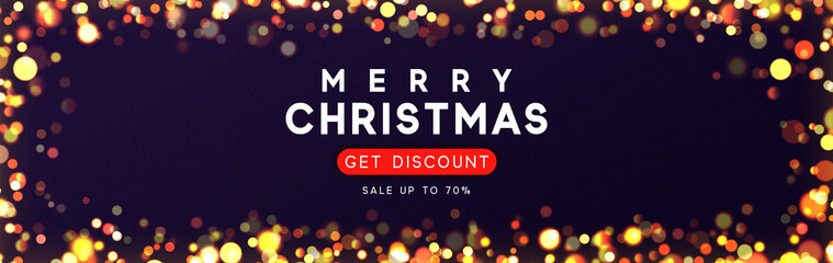 Horizontal banner with Merry Christmas background with bright glowing lights golden bokeh