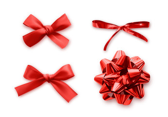 Red Bows set of realistic, isolated on white background.