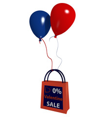 Einkaufstasche mit Luftballons und dem Text Valentine Sale