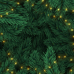 Christmas tree branches. Frame of green branch of pine and gold string garland lights. Festive Xmas border