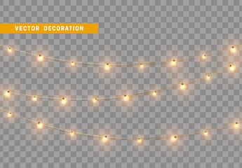 Christmas decorations, isolated on transparent background. Golden light garlands realistic set. Gold Xmas decor. Festive design element