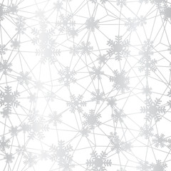 Silver Christmas snowflakes net seamless pattern. Great for winter holidays wallpaper, backgrounds, invitations, packaging design projects. Surface pattern design.