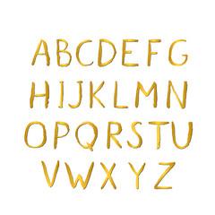 Hand drawn gold alphabet. Grunge golden letters A-Z isolated on white. Sans serif modern font. Latin uppercase handwriting symbols.