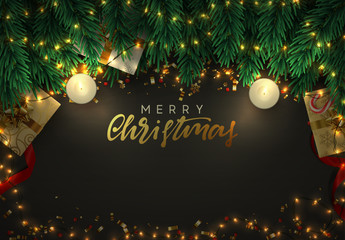 Christmas night background. Gold garlands, green branches of pine, boxes with gifts, flame lit decorative candles. Festive Xmas vector illustration