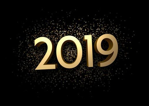 Golden 2019 sign on black background.