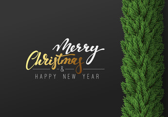 Christmas background. Vector decoration Xmas border with fir branches