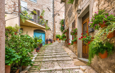 Picturesque road in Trevi, ancient village in the Umbria region of Italy.