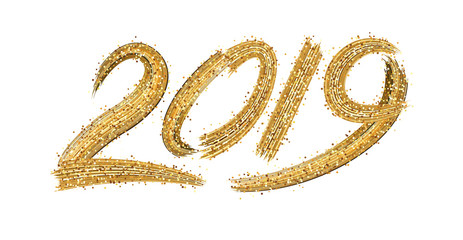 New Year 2019 sign with golden brush strokes on white background. Fototapete