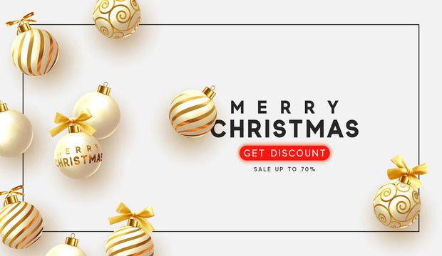 Christmas vector background. Xmas sale, holiday web banner. Design christmas decorations balls