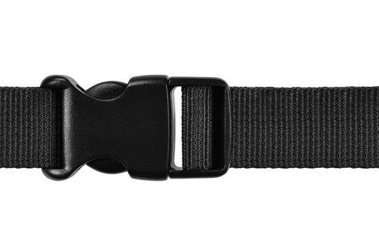 Black side release acculoc buckle plastic clasp, quick nylon belt rope lock strap, isolated macro closeup, large detailed horizontal accessory studio shot