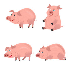 Cute smiling pigs playing in mud. Vector farm animal character set.
