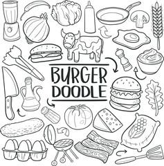 Burger Fas Food Hamburger Doodle Icon Hand Draw Line Art