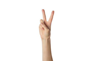 Female hand raised up and showing a gesture of peace with two lifted fingers on a white background. Gesture Yo. Concept of power, unity, rap respect