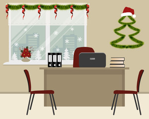 Workplace of office worker, decorated with Christmas decoration. There is a desk, red chairs and other objects on a window background. There is also a decorative Christmas tree on the wall here.Vector