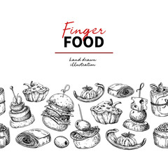 Finger food vector drawing. Catering service template for flyer,