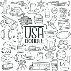 United States of America Symbols Traditional Doodle Icons Sketch Hand Made Design Vector