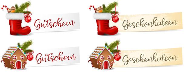 Weihnachten Geschenkideen Gutschein Banner Set mit Nikolaus Stiefel und Lebkuchenhaus