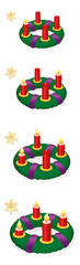 Advent wreath with one, two, three, four burning red candles in chronological order on first, second, third and fourth Sunday of Advent, with numbered golden stars - vector on white, high size.