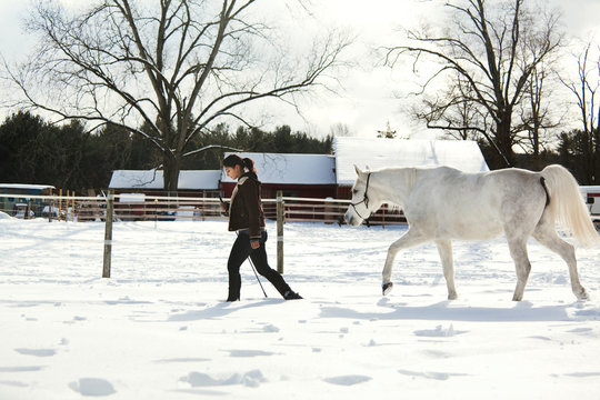 Side view of woman with horse walking on snow field