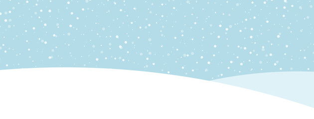 Blue banner with winter landscape and snow for seasonal, Christmas and New Year design.