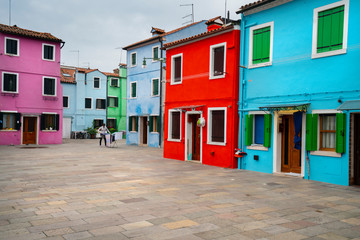 view of the brightly colored houses in Burano istand, Venice, Italy