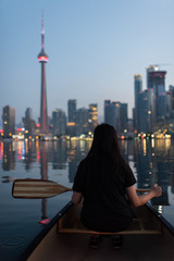 Toronto at night from a boeat