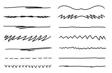 Clean minimalistic underline brush strokes isolated on white background.