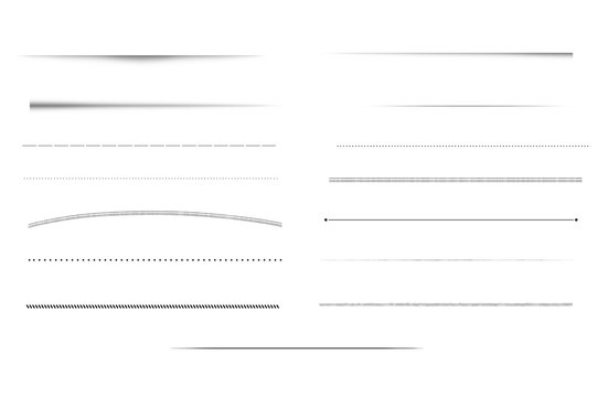 Clean minimalistic underline brush strokes isolated on white background.