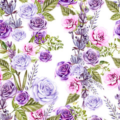 Watercolor pattern with roses flowers and lavender. Hand painting. Watercolor. Seamless pattern for fabric, paper and other printing and web projects.