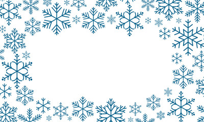 Abstract Christmas background. Winter frame with snowflakes over transparent background. Vector