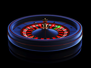 Blue casino roulette wheel isolated on black background. 3d rendering illustration.