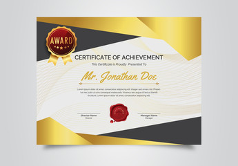 Award Certificate Layout with Geometric Designs