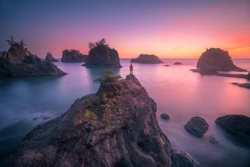 Watching Oregon coast sunset