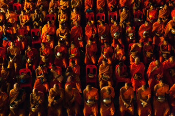 High angle view of monks