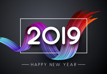 Happy New Year 2019 festive poster with colorful brush stroke on grey background.