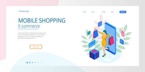 Landing page template of shopping online concept. Mobile store, online shopping, distant trade, e-commerce