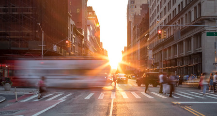 Printed kitchen splashbacks New York Busy New York City street scene with crowds of people in Midtown Manhattan with sunset background