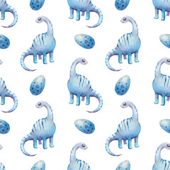 Childish hand drawn watercolor pattern with cute dinosaurs. Perfect for kids apparel, textile, fabric, nursery