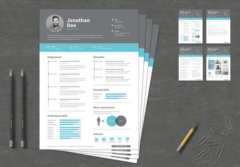 Resume and Cover Letter Layouts with Gray Header and Blue Accents