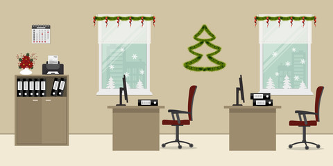 Beige office, decorated with Christmas decoration. There are desks, red chairs, a printer and other objects on a window background. There is also a decorative Christmas tree on the wall here. Vector