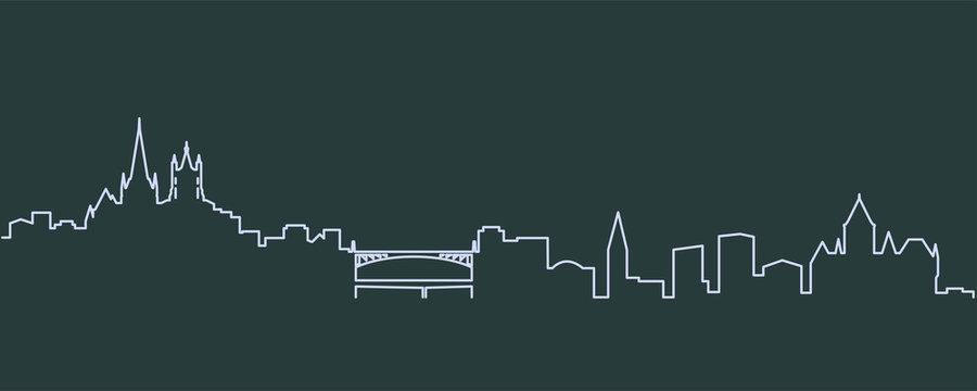 Lausanne Single Line Skyline