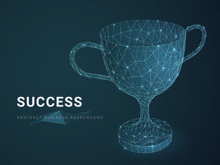 Abstract modern business background depicting success with stars and lines in shape of a trophy on blue background.