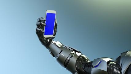 ロボット アンドロイド 手 スマートフォン スマートホン 自撮り Robot Android Hand mobile phone smart phone Selfie self taken