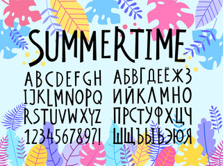 Vector freestyle hand drawn alphabet. Latin and Cyrillic letters on tropical background