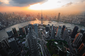 Shanghai city skyline cityscape, Aerial view of shanghai, shanghai lujiazui finance and business district trade zone skyline