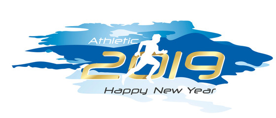 Athletic 2019 Happy New Year gold logo icon watercolor blue white background